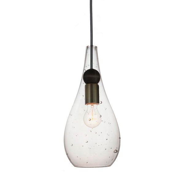 Mini Seeded Blown Glass & Wood Drop Pendant Light- Bronze- Made in USA