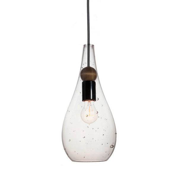 Mini Seeded Blown Glass & Wood Drop Pendant Light- Made in the USA