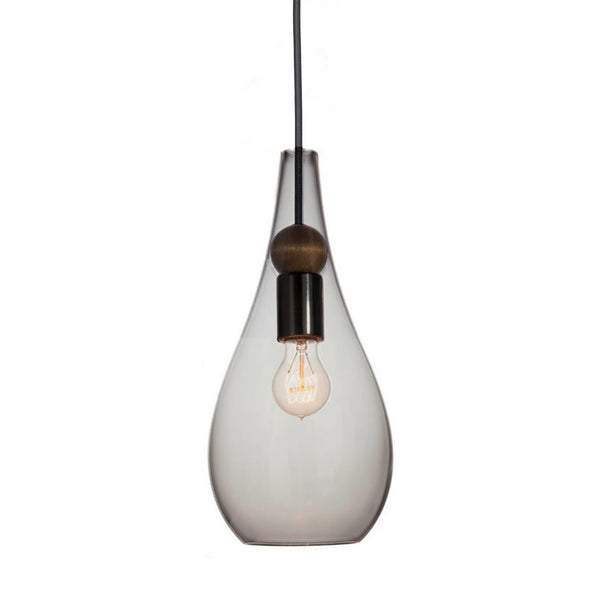 Mini Smoke Blown Glass & Wood Teardrop Pendant Light- Matte Black