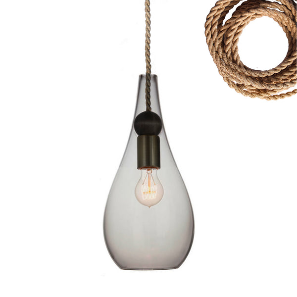 Mini Smoke Gray Blown Glass & Wood Drop Pendant Light- Ship Rope- Made in USA