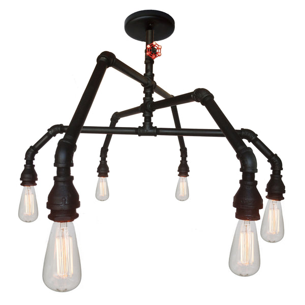 Industrial Rustic Pipe and Vintage Valve Chandelier - 6 Light - Hammers and Heels  - 1