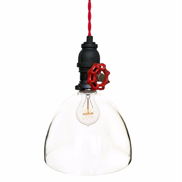 "8"" Clear Blown Glass Upcycled Valve Pipe Pendant Light- Red Cloth Cord Pendant Lighting- USA Made. Custom. Exclusive. Quality Hammers and Heels"