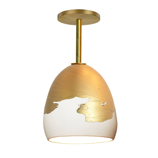 Matte White & Brass Metallic Ombre Porcelain Round Globe Downrod Pendant Light- USA Made by Hammers and Heels. Custom. Exclusive. Quality