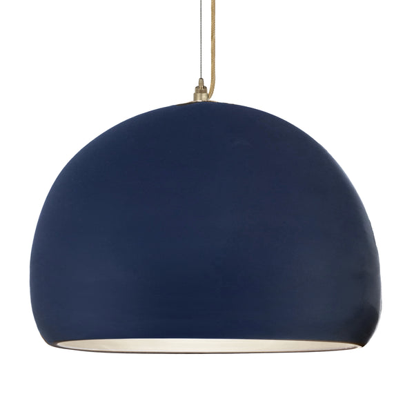 "16"" Matte Indigo Porcelain Globe Pendant Light - Brass Cord - Made in USA"