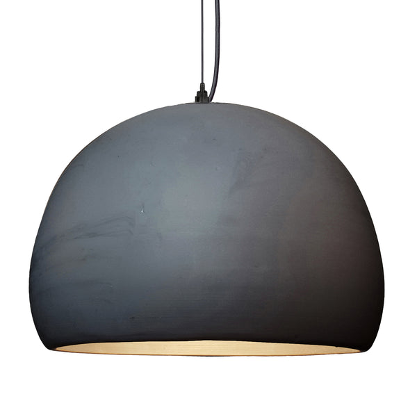 "16"" Matte Black Porcelain Globe Pendant Light - Black Cord - Made in USA"
