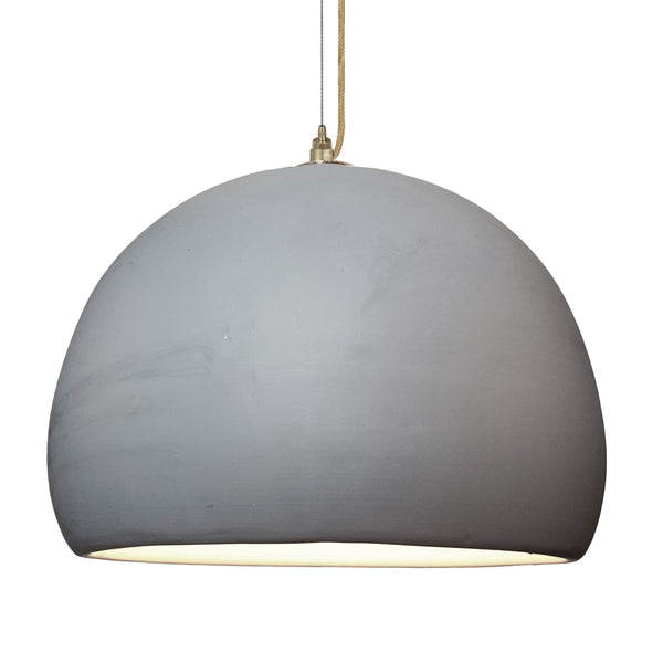 "16"" Matte Grey Porcelain Globe Pendant Light - Brass Cord - Made in USA"