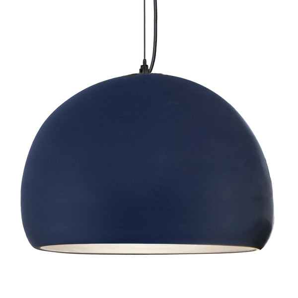"16"" Matte Indigo Porcelain Globe Pendant Light - Black Cord - Made in USA"