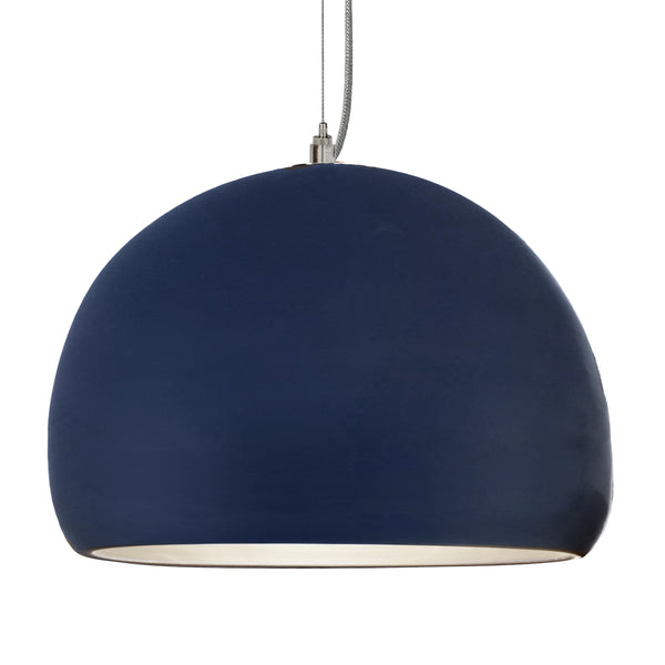 "16"" Matte Indigo Porcelain Globe Pendant Light - Nickel Cord - Made in USA"