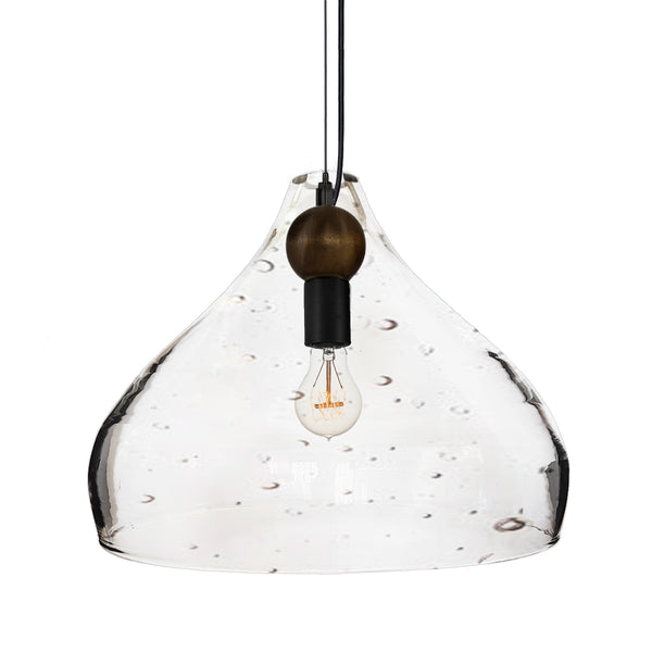 XL Seeded Blown Glass & Wood Teardrop Pendant Light- Black