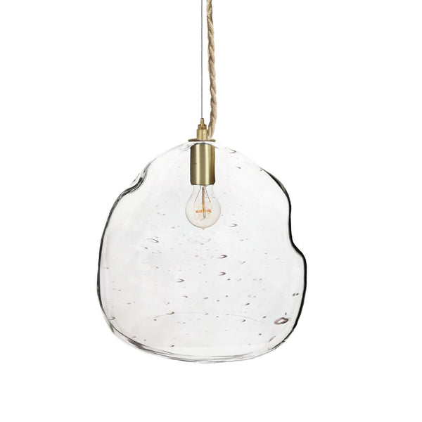 XL Seedy Bubble Hand Blown Glass Chandelier Pendant Light- Brass & Ship Rope