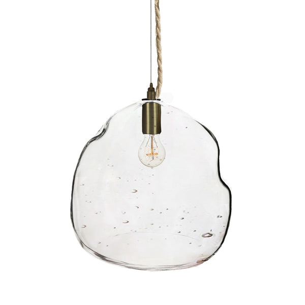 XL Seedy Bubble Hand Blown Glass Chandelier Pendant Light- Ship Rope