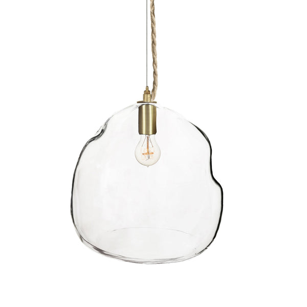 XL Clear Bubble Clear Hand Blown Glass Chandelier Pendant Light- Brass & Ship Rope