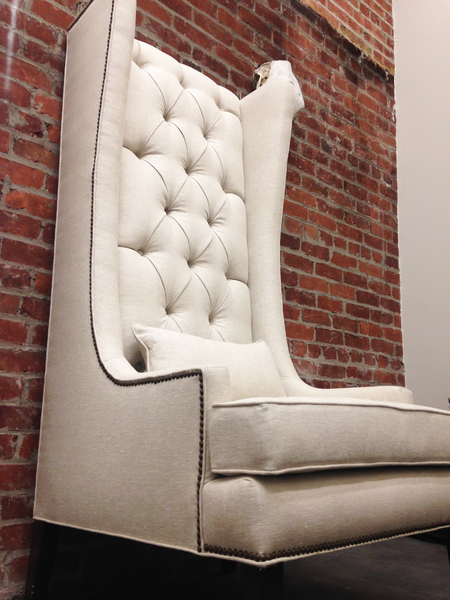 Custom Tufted Linen Wingback Arm Chair - Hammers and Heels  - 11