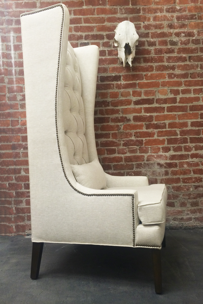 Custom Tufted Linen Wingback Arm Chair - Hammers and Heels  - 9