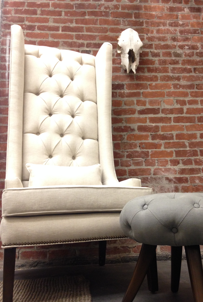 Custom Tufted Linen Wingback Arm Chair - Hammers and Heels  - 8