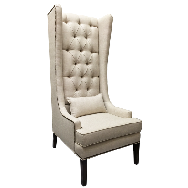 Custom Tufted Linen Wingback Arm Chair - Hammers and Heels  - 1