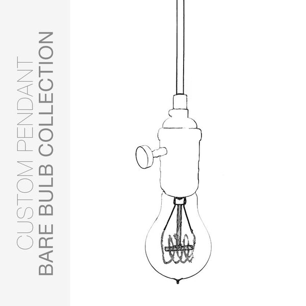 Custom Design Your Bare Bulb Pendant Light Pendant Lighting- USA Made. Custom. Exclusive. Quality Hammers and Heels