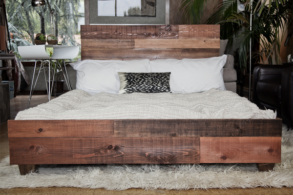 Custom Reclaimed Barn Wood Platform Industrial Bed - Hammers and Heels  - 4