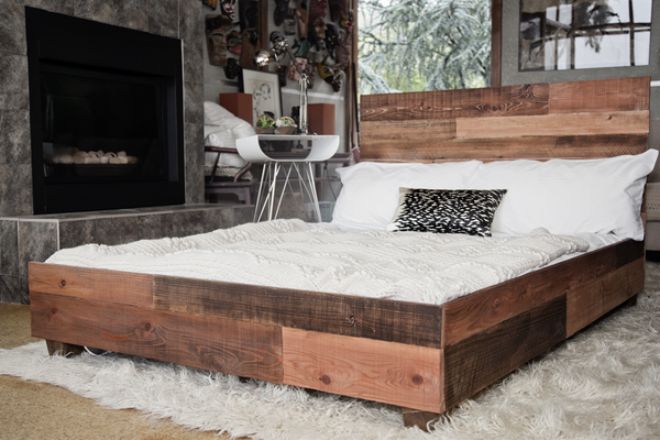 Custom Reclaimed Barn Wood Platform Industrial Bed - Hammers and Heels  - 1
