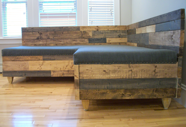 Reclaimed Barnwood Modern Upholstered Sectional Sofa Sofas- USA Made. Custom. Exclusive. Quality Hammers and Heels