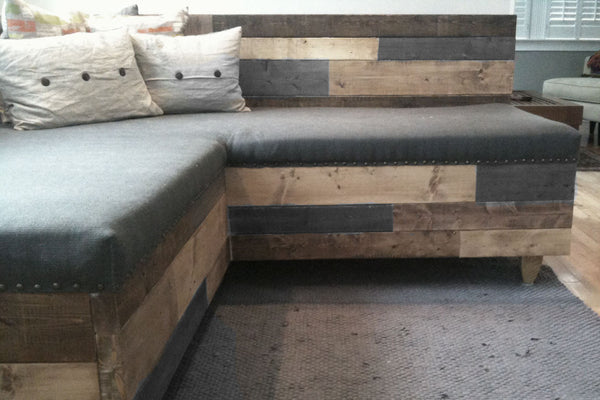 Reclaimed Barnwood Modern Upholstered Sectional Sofa - Hammers and Heels  - 1