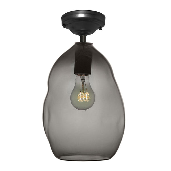 Bubble Smoke Grey Hand Blown Glass Pendant Light- Flushmount - Hammers and Heels  - 6