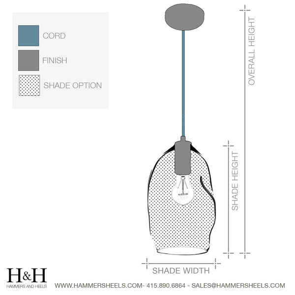 "Custom Design Your 8"" Clear Blown Glass Bare Bulb Pendant Light - Hammers and Heels  - 11"