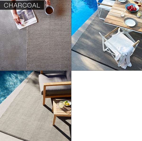 Custom Indoor Outdoor Handmade Herringbone Geometric Woven Rug - Hammers and Heels  - 2