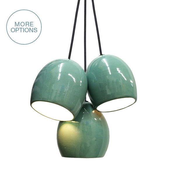 Celadon Green Porcelain Round Globe Clay Cascade 3 Pendant Light Chandelier- Made in USA- Hammers and Heels