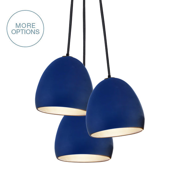 Indigo Blue Porcelain Round Globe Clay Cascade 3 Pendant Light Chandelier- Made in USA- Hammers and Heels