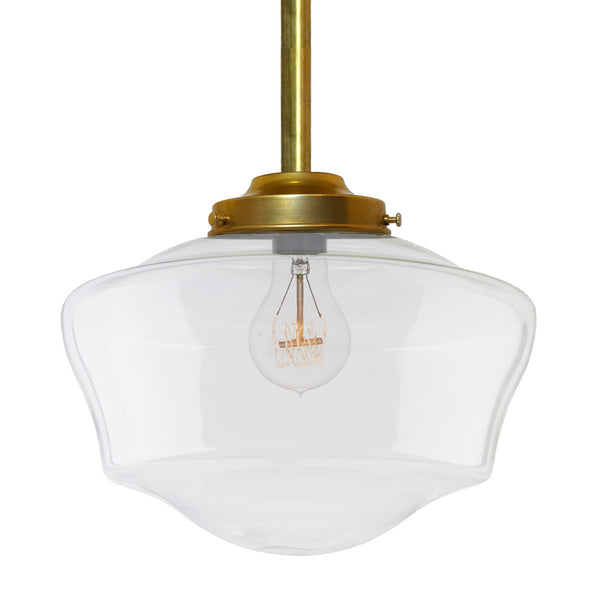 Schoolhouse Clear Glass Brass Pendant Light Pendant Lighting- USA Made. Custom. Exclusive. Quality Hammers and Heels