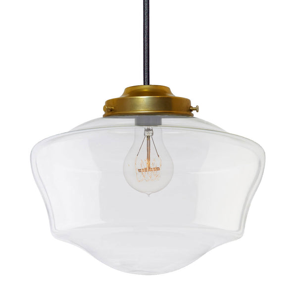 Clear Schoolhouse Blown Glass Pendant Light- Brass