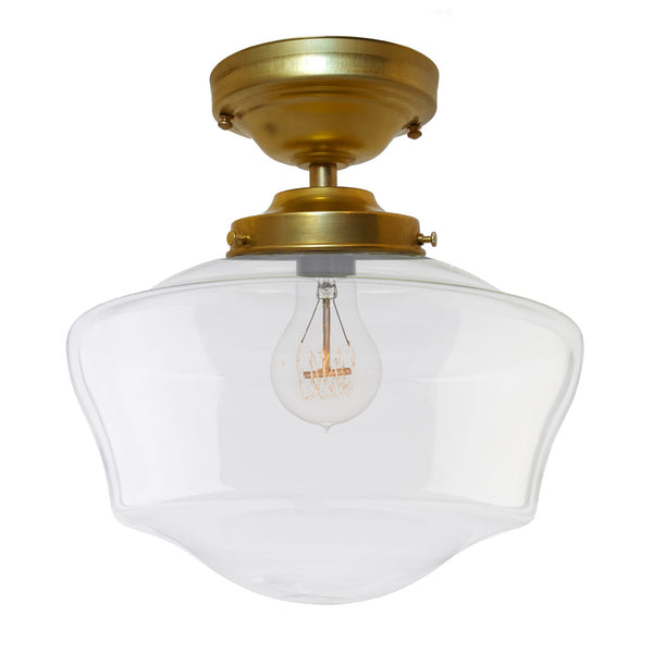 Schoolhouse Clear Glass Brass Flush Mount Light Pendant Lighting- USA Made. Custom. Exclusive. Quality Hammers and Heels