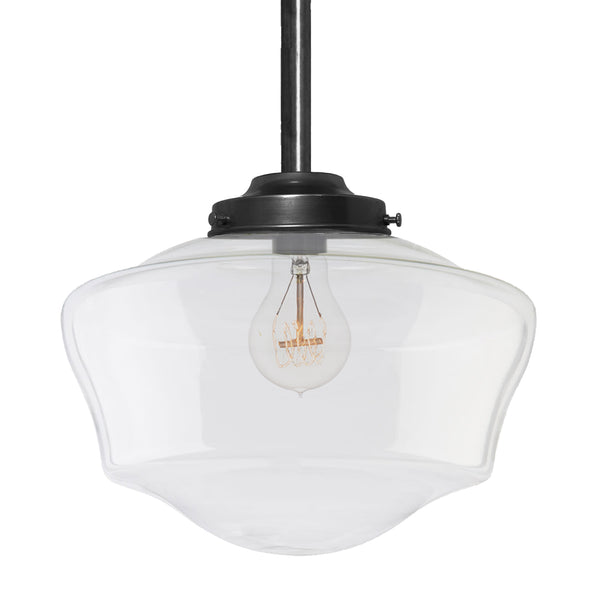 Clear Schoolhouse Blown Glass Downrod Pendant Light- Black