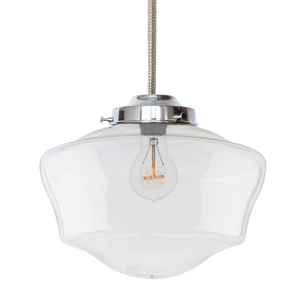 "12"" Schoolhouse Clear Glass Pendant Light- Chrome Cord Pendant Lighting- USA made manufacturer. Custom. Hammers and Heels"