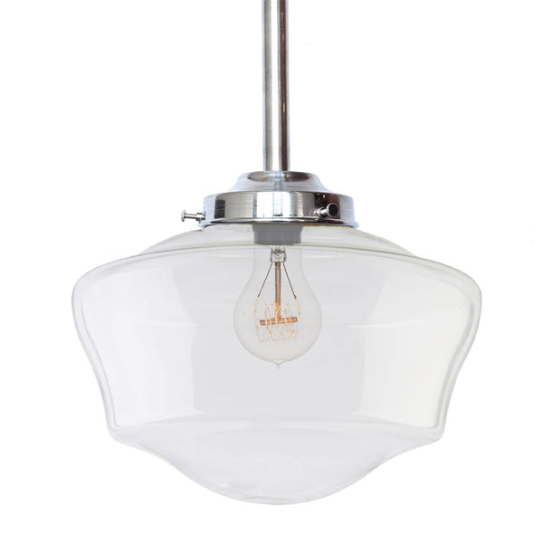 Schoolhouse Clear Glass Nickel Pendant Light Pendant Lighting- USA Made. Custom. Exclusive. Quality Hammers and Heels