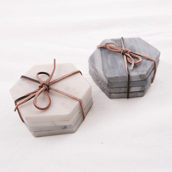 Hexagon Marble Coaster Set