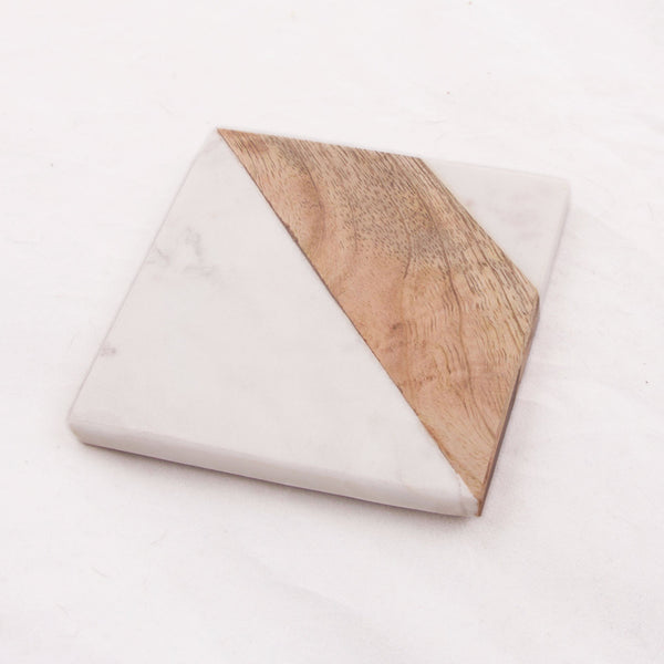 Square Marble & Wood Coaster Set