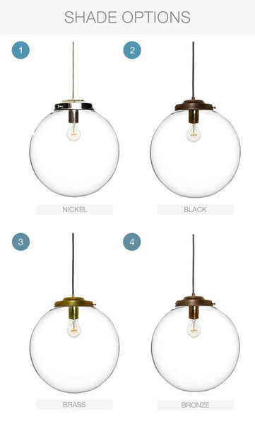 "16"" Clear Blown Glass Globe Chandelier Pendant Light"