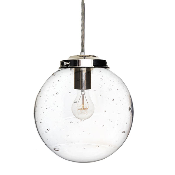 Seeded Handblown Glass Globe Pendant Light- Made in USA