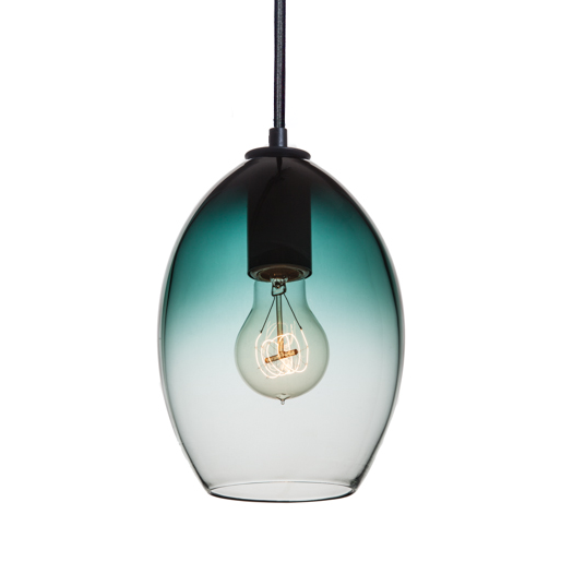 Hand Blown Blue Green Gradient Pendant Light - Hammers and Heels  - 1