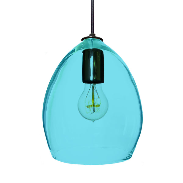 Hand Blown Modern Orb Glass Egg Aqua Blue Glass Pendant Light Pendant Lighting- USA Made. Custom. Exclusive. Quality Hammers and Heels