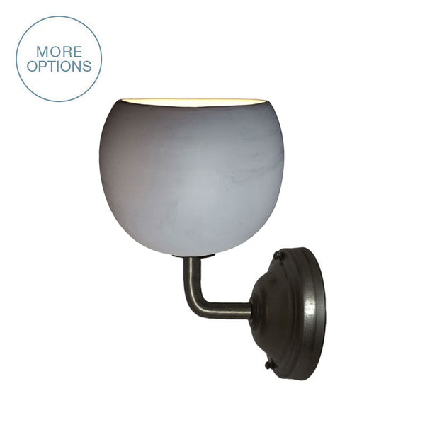 Mini Grey Porcelain Round Globe Clay Sconce- Made in USA- Hammers and Heels