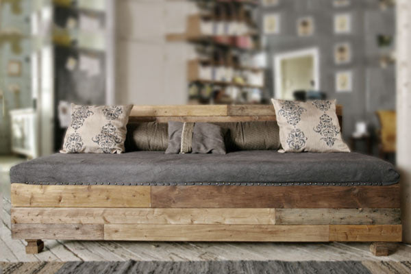 Custom Reclaimed Wood Modern Industrial Sofa Sofas- USA Made. Custom. Exclusive. Quality Hammers and Heels