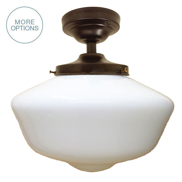 Schoolhouse Opal Glass Flush Mount Light Pendant Lighting- USA Made. Custom. Exclusive. Quality Hammers and Heels