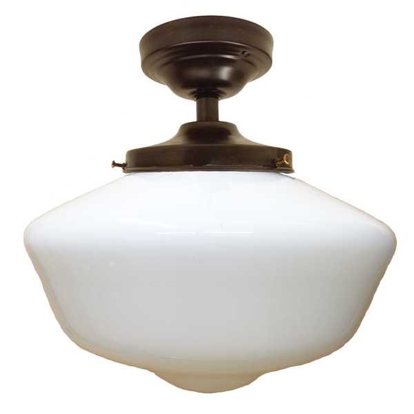 Schoolhouse Opal Glass Bronze Flush Mount Light Pendant Lighting- USA Made. Custom. Exclusive. Quality Hammers and Heels