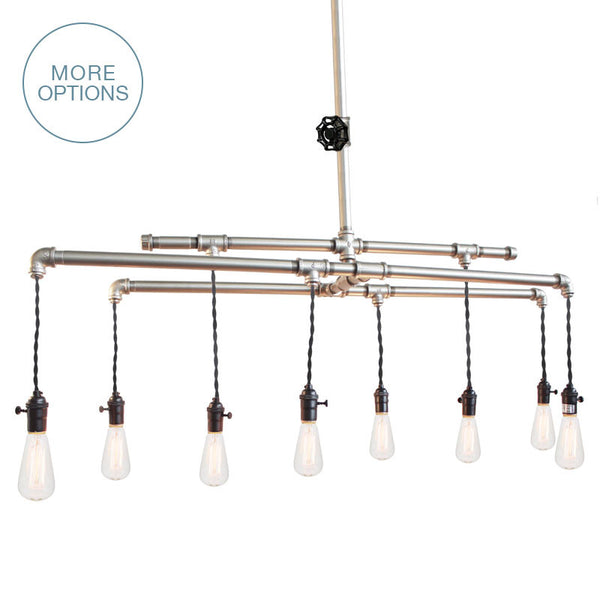 Barn Metal Industrial Pipe Chandelier - 8 Light Chandelier- USA Made. Custom. Exclusive. Quality Hammers and Heels
