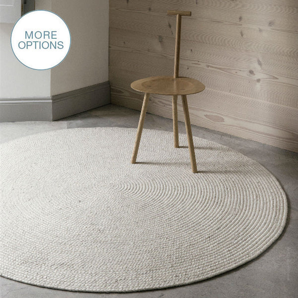 Cable Knit Modern Round Hand Braided Woven Wool Rug - Hammers and Heels  - 1