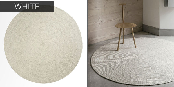 Cable Knit Modern Round Hand Braided Woven Wool Rug - Hammers and Heels  - 2