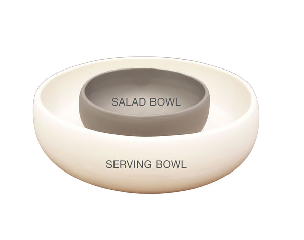 Matte Porcelain USA Made Salad Bowl - Hammers and Heels  - 3